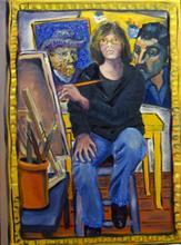 Self-portrait with Van Gogh and Gaugin, by Albie Davis.