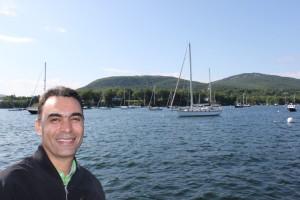 Acadia Center student on board a schooner in Penobscot Bay.